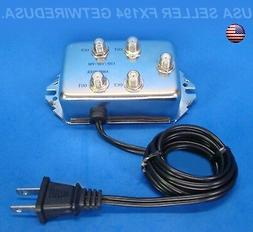 1 IN 4 OUT COAX CABLE SPLITTER SIGNAL AMPLIFIER COAXIAL TV A