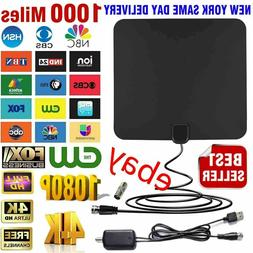 1000 miles TV Antenna Indoor Outdoor HDTV Free HD Digital Ch
