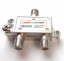 2-Way  MHz 75 Ohm TV Splitter for RG6 RG59 Coaxial Cable VHF