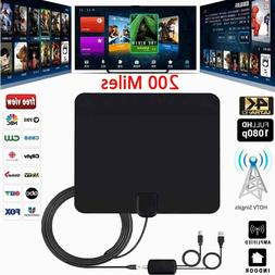 200 Mile Ultra Thin Flat Indoor HDTV Amplified HD TV Black A