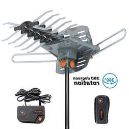 200 miles outdoor tv antenna amplified motorized