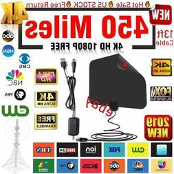 450 Mile Antenna TV Digital Amplified HD TV Antenna Free Cha