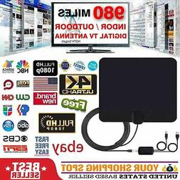 4K 1080P Indoor Digital TV Antenna 300 Miles Range Signal Bo