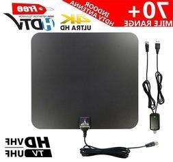 70+ Mile Indoor VHF/UHF 4K/1080P HD Digital TV Antenna w/Amp