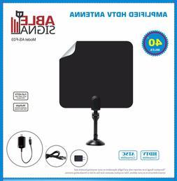 AMPLIFIED INDOOR THIN FLAT HDTV TV ANTENNA 40 MILES 5dB GAIN