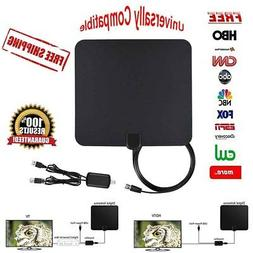 DIGITAL TV ANTENNA HDTV 100 MILES RANGE FLAT TRANSPARENT AMP