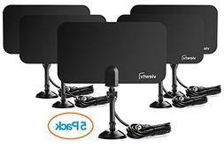 ViewTV Flat HD Digital Indoor TV Antenna 5 Pack Bundle- 25 M