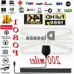 Diconna HDTV Antenna Indoor 1080P 4K HD 200 Mile Ultra Thin