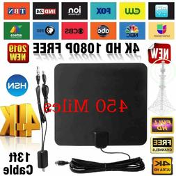 450 miles TV Antenna Indoor Outdoor HDTV Free HD Digital Cha