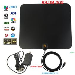 Indoor Digital TV Antenna 200 Miles Range HD 1080P Signal Bo