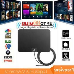 1byone Indoor Thin HDTV Antenna 35 Miles Range 10-Feet High
