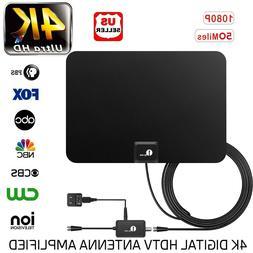 New Digital Indoor TV Antenna Amplifiered HDTV VHF UHF Flat
