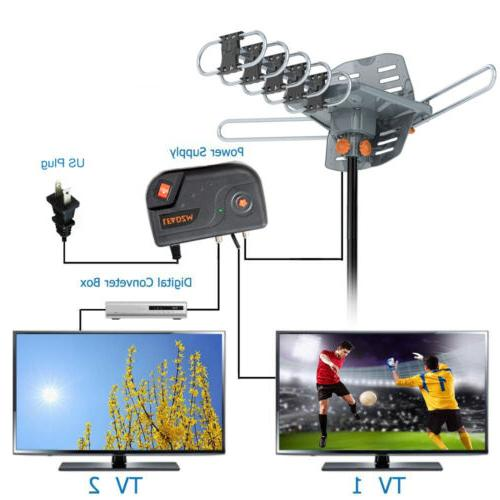 200 Mile Antenna Motorized HDTV 1080P 4K 36dB 360° Rotation
