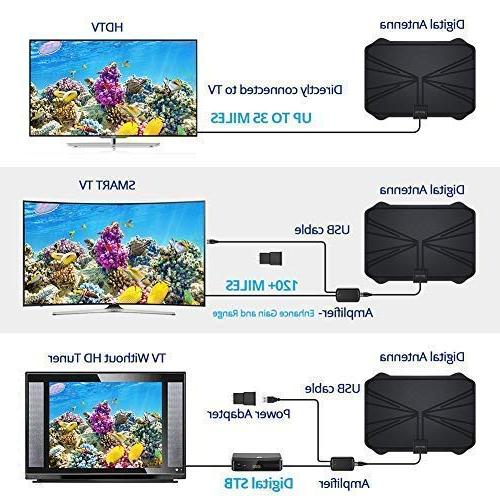 【2019 TV Antenna Long 120 Miles Range Freeview Life All Signal Amplifier Longer Coax Cable