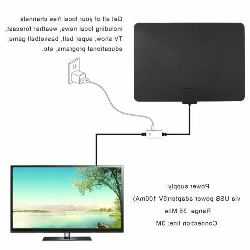 25/35/50/150 Thin Indoor Amplified TV Antenna 10FT New WF