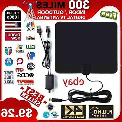 300 miles outdoor flat hd amplified tv