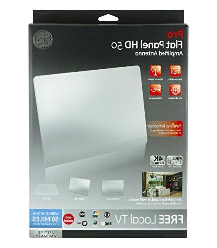 GE Pro TV Antenna, USB Slim Long Range Antenna, TV, 1080P VHF UHF, Coaxial Booster,