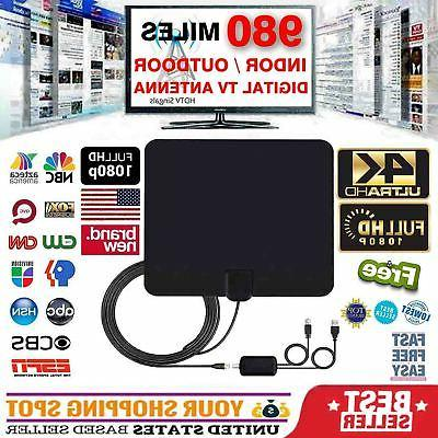 300 Miles Outdoor Flat HD Amplified TV Antenna with Amplified HDTV 1080P 4K 13ft