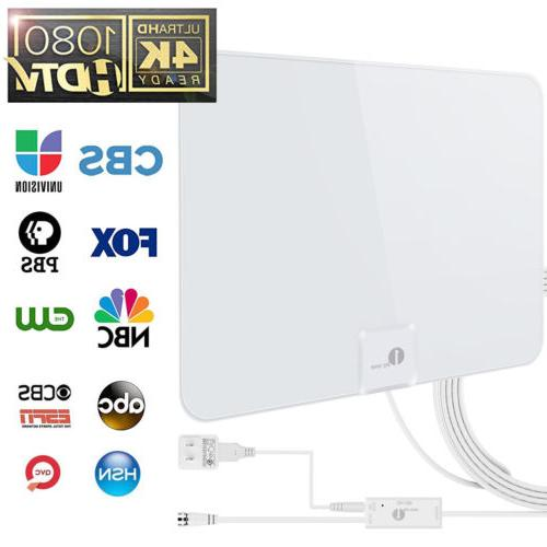 1byone 50-Miles Antenna Indoor Flat HD TV Digital Signal Amp