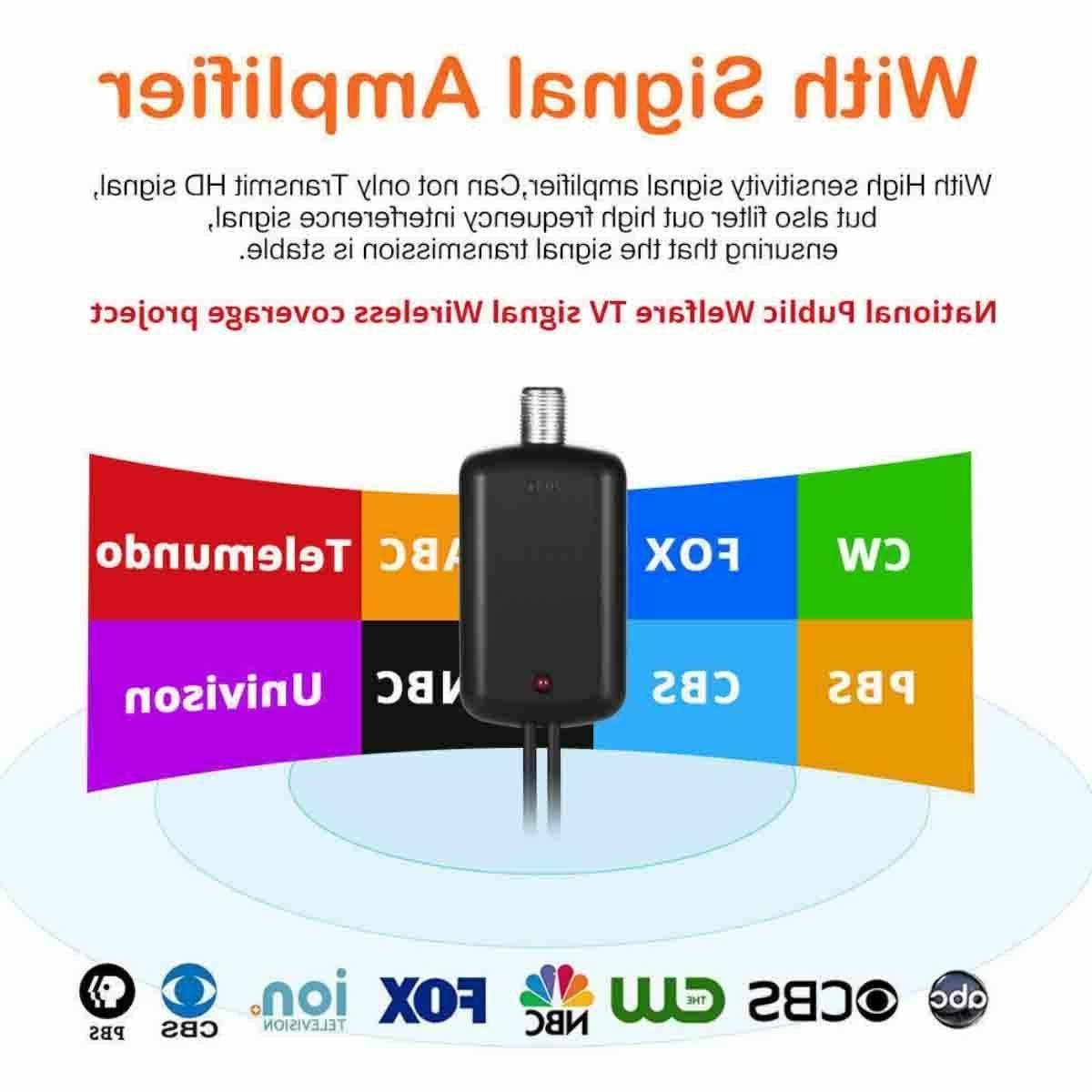 Digital TV Antenna 980 Miles Signal HDTV Indoor Thin 13ft.