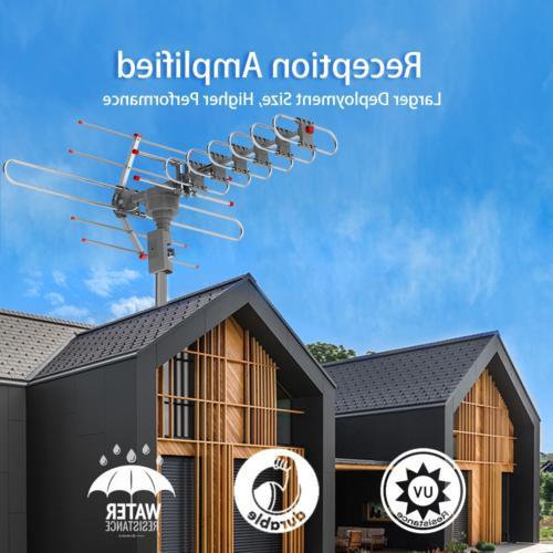 980 Miles Outdoor TV Antenna Motorized Amplified HDTV 1080P 360°