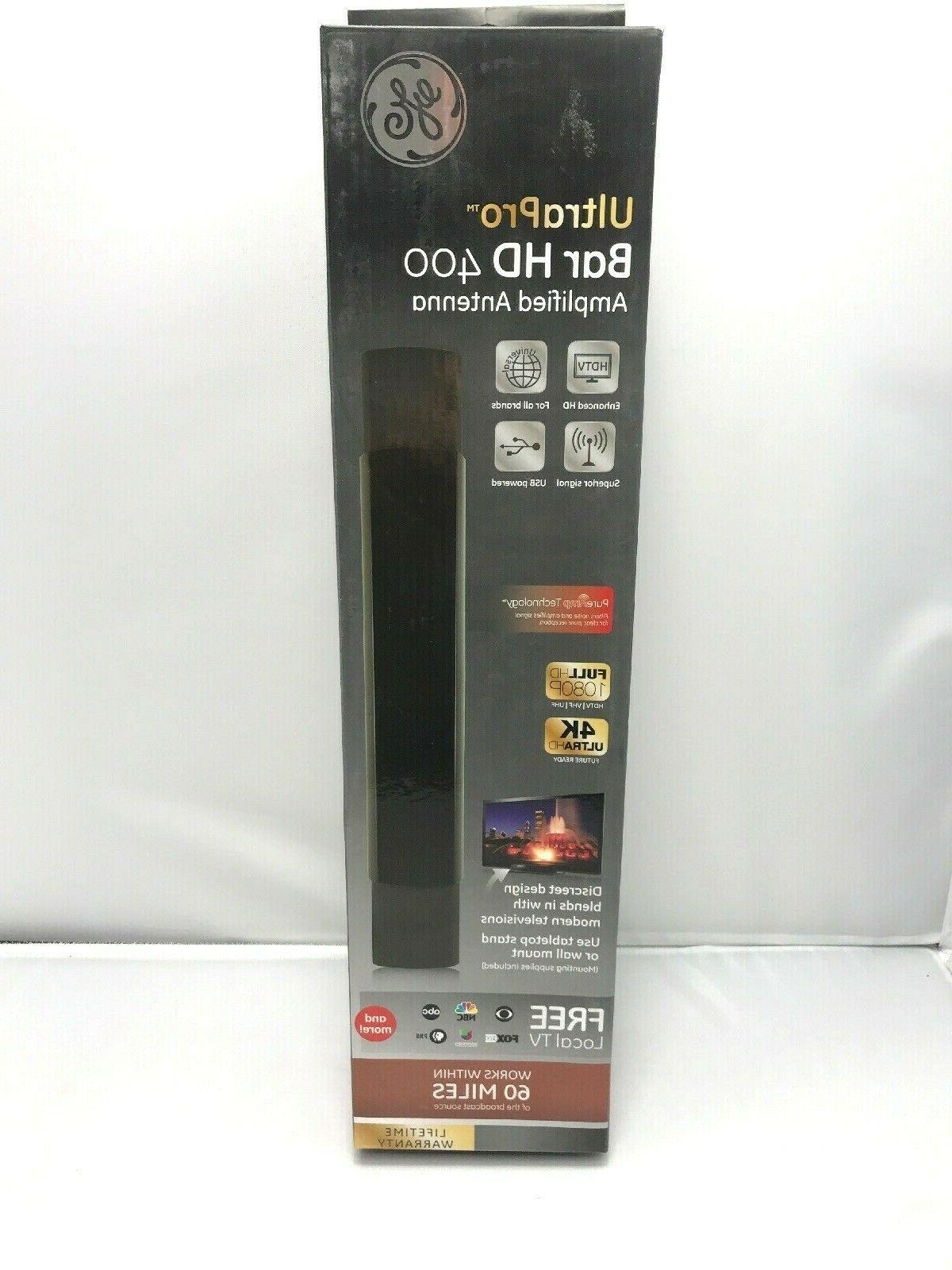 GE - GE UltraPro Bar HD 400 Amplified Antenna - Black