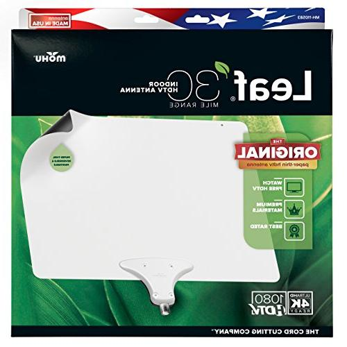 Mohu Antenna, Indoor, 30 Range, Original Paintable, 4K-Ready HDTV, 10 Foot Materials for Performance, USA Made,