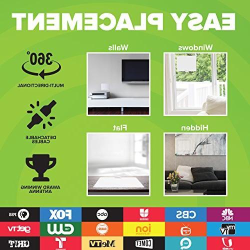 Mohu Leaf Indoor HDTV Mile Range, Original Reversible, 16 Foot Detachable Premium Materials Made,