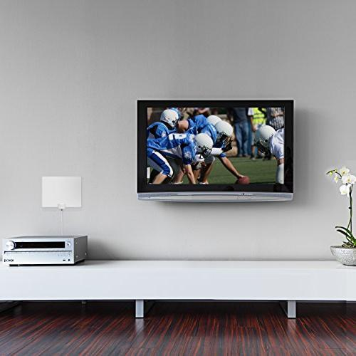 Mohu 50 Indoor HDTV Antenna, Amplified, Mile Original Paper-thin, Reversible, Paintable, 4K-Ready, Foot Detachable Materials Made, MH-110599