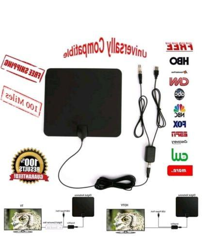ViewTV HD Digital Indoor Amplified TV Antenna - Detachable Amplifier 12ft Coax Cable - Black