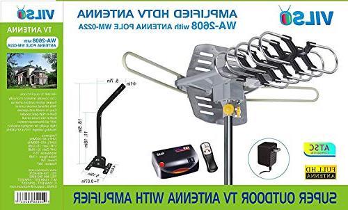 Vilso TV Outdoor Amplified - Degree Rotation - HDTV Antenna Miles Pole