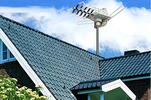 Vilso Antenna Outdoor Amplified - Degree Digital HDTV Antenna Miles - Wireless Infrared Mount Pole