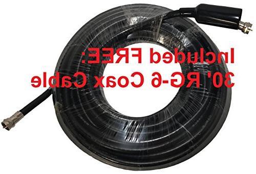 Amplified HDTV 4K UHD Degree 65 Miles Indoor/Attic/Outdoor TV Antenna. High ATSC/TV/DTV/UHF/VHF/FM
