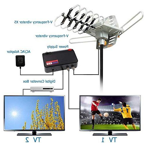 HD TV Antenna HDTV 150 Mile Range Antenna Mount Pole 2 Support Remote -33' Coax Cable