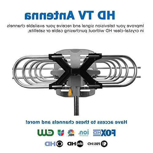Amplified TV Antenna HDTV Range Motorized Adjustable Antenna for 2 TVs Remote Control -33' Coax Cable