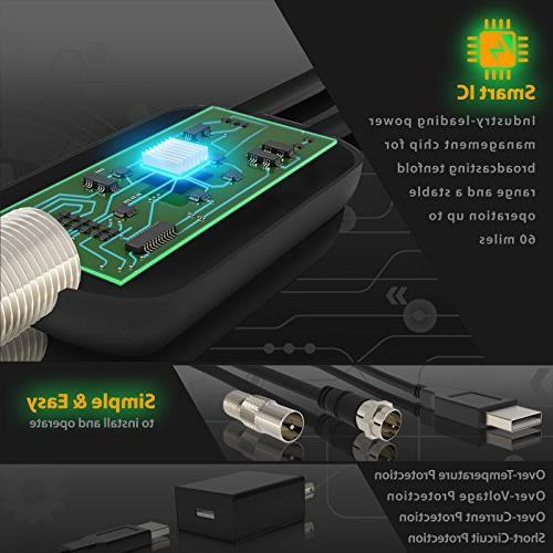 TV Miles Range – Support 4K & Older TV's Indoor HDTV Amplifier - Power