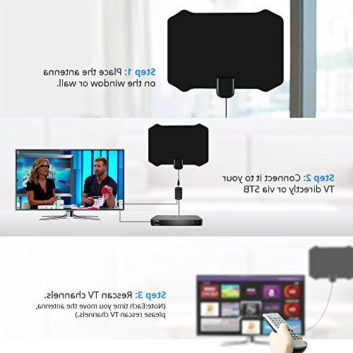 Antenna for Indoor, Amplified HD Antenna with 120 Range, 4K for Indoor HDTV