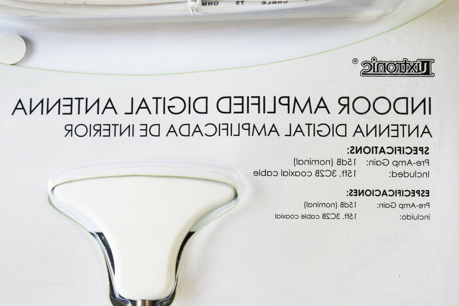 Flat HD Digital Indoor Amplified TV Antenna HDTV with 65 Miles Range