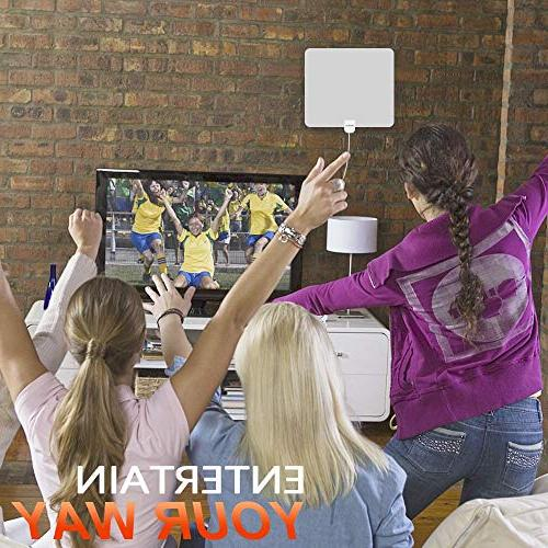 HDTV Antenna, Indoor Amplified TV Miles Amplifier Booster 1080P UHF Local Channels Coax TV's