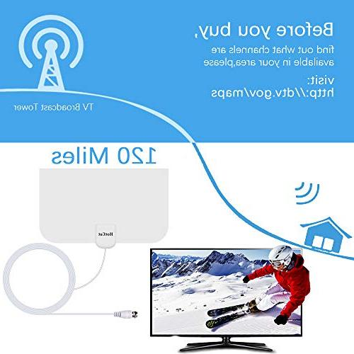HDTV Digital Amplified TV 120 Miles Amplifier Signal Booster for 1080P VHF UHF Local Coax TV's