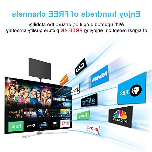 HDTV Indoor TV Range with Newset Signal Booster 4K Local Broadcast for All of Smart Television Version