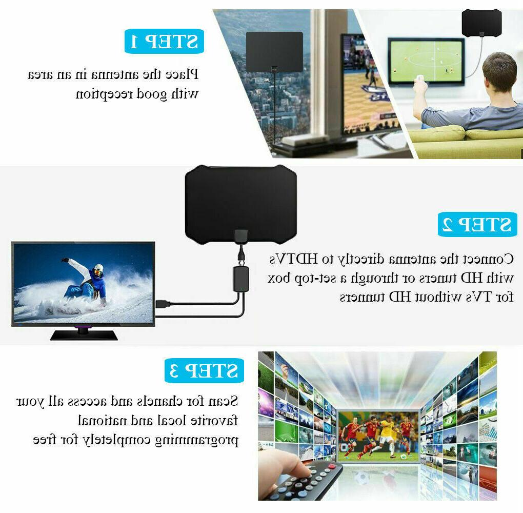 50 Miles Indoor TV Antenna Digital ViewTV Range Flat Amplifier