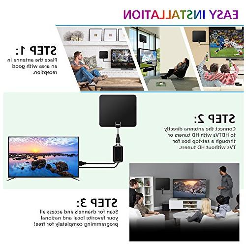 80 Miles TV Newest Version OIRIKY Indoor Digital HDTV - 13.2FT Performance Coaxial Cable Local Channels