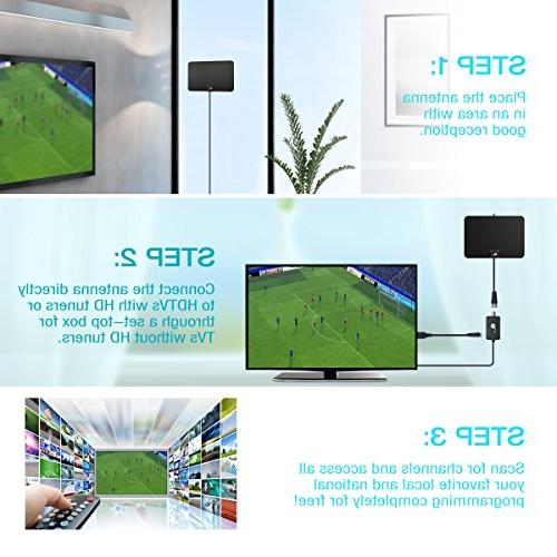 1byone Amplified Digital Antenna with 1080p for with Booster, and Supply