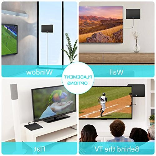 1byone Digital Antenna Range, 1080p 4K for Indoor with HDTV Amplifier Signal Booster, 10ft and USB Supply