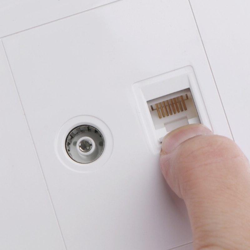 RJ45 Adapter+<font><b>TV</b></font> Coaxial Wall <font><b>Mount</b></font> Output Faceplate Socket Ship Support