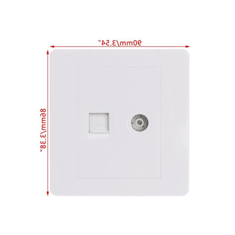 RJ45 Adapter+<font><b>TV</b></font> <font><b>Antenna</b></font> Coaxial Faceplate Socket