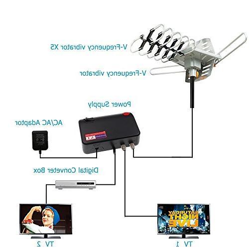 TV Antenna Amplified HDTV Antenna Motorized Mount 2 TVs 4K Wireless Remote - 33FT Coax