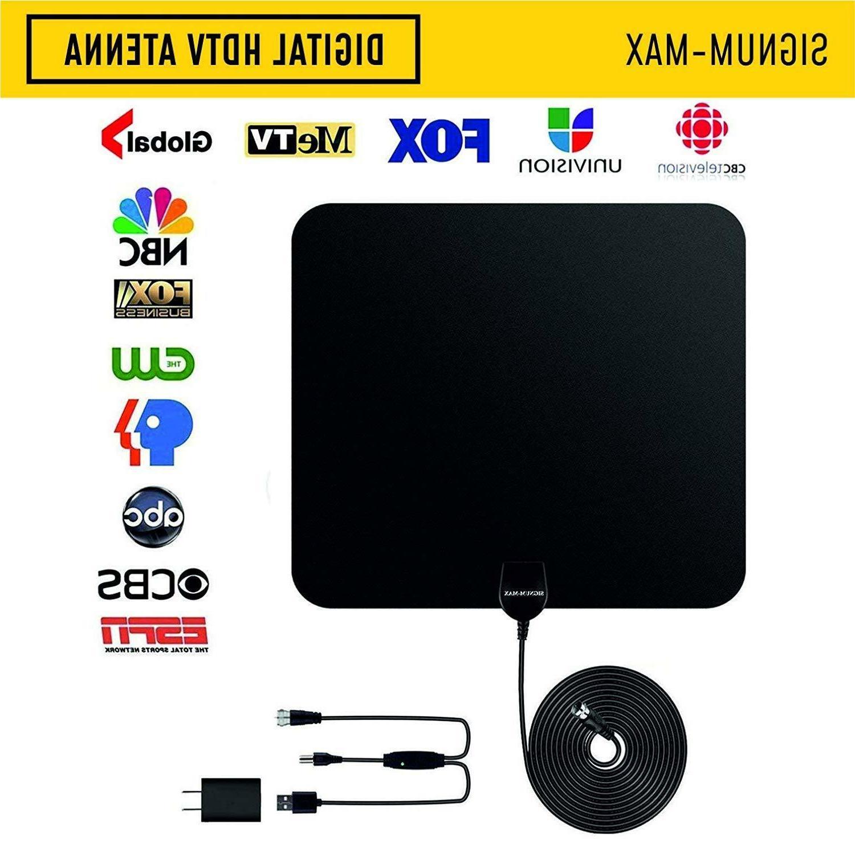TV Antenna Amplified HD Digital 65+Mile Long Range Saddle Ty