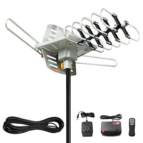 Vansky Outdoor 150 Mile OTA Amplified HD TV Antenna for 2 TVs Support UHF/VHF/1080P Wireless Remote 32.8'